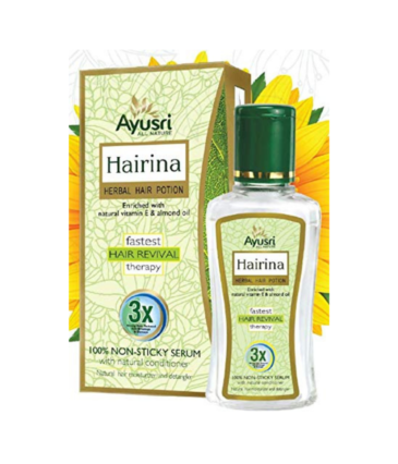 Ayusri Hairina Herbal Hair Potion Enriched With Natural Vitamin E & Almond Oil – 60 Ml Pack