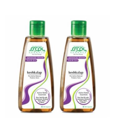 SSCPL Herbals Keshkalap Advance Sesame Hair Oil for Strong & Healthy Hair Growth with Brahmi, Amla, Maka, Neem & Jatamansi - 200 ml (Pack of 2)