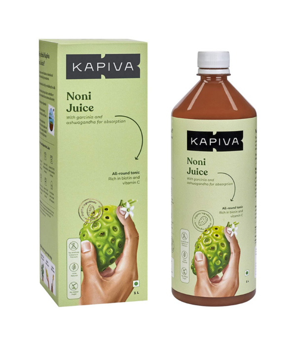 Kapiva Noni Juice 1L | Includes Garcinia and Ashwagandha for Nutrient Absorption | Made from South Indian Noni | No Added Sugar