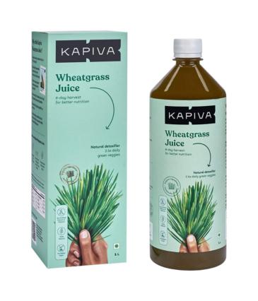 Kapiva Wheatgrass Juice 1L | Ayurvedic Juice for Detoxification | High Chlorophyll, 8th day harvested Wheatgrass | No Added Sugar