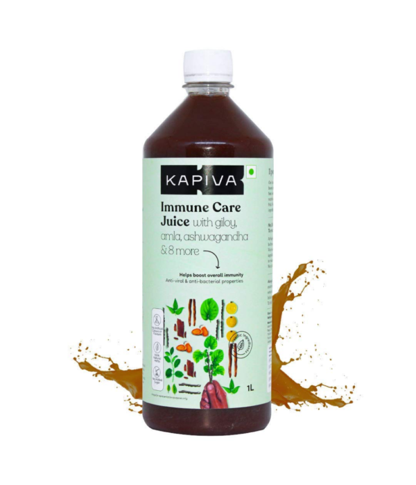 Kapiva Immune Care Juice 1L | Enriched with Amla, Giloy, Tulsi, Ashwagandha, and 7 more herbs | Natural Immunity Booster