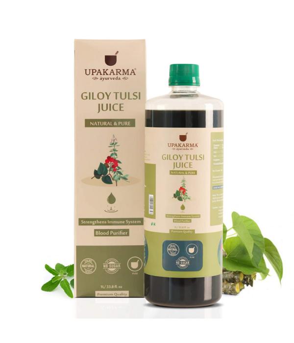 UPAKARMA Ayurveda Giloy Tulsi Juice Natural Juice for Building Immunity I No Added Sugar - 1L
