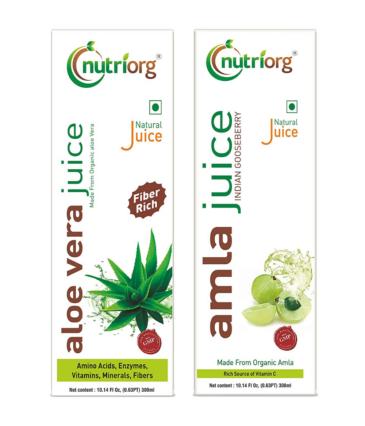 Nutriorg Amla & Aloe Vera Juice - 600 Ml (Pack of 2 - 300 each) | Organically Grown| Immunity Booster | Detoxification