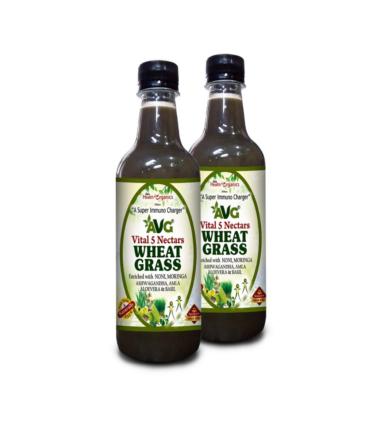 AVG Health Organics Wheat Grass Plus Juice with Ashwagandha, Noni, Moringa, Tulsi, Giloy, Amla & Aloevera -500 ml (Pack of 2)