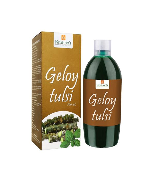 Krishna's Herbal & Ayurveda Geloy Tulsi    Giloy Plant Pure and Natural Guduchi Immunity Wellness Juice - 500 ml (Pack of 1)