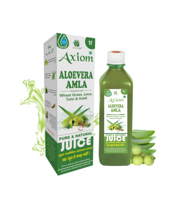 Jeevanras Axiom Aloevera Amla Juice 1000ml | Boosts Immunity | Purifies Blood | Relieves From Constipation | Improves Eyesight | 100% Natural WHO GMP, GLP...