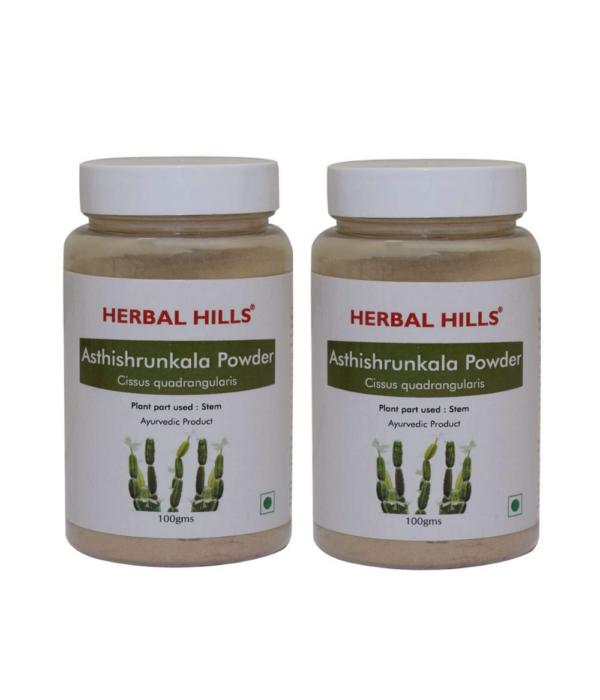 Herbal Hills Asthishrunkala Powder 100g Pack of 2 | Cissus Quadrangularis | Veldt Grape | Devil's Backbone | Adamant Creeper | Hadjod | Pirandai