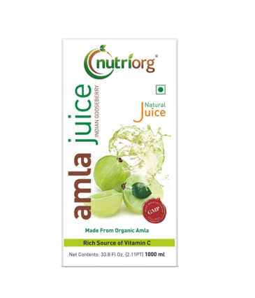 Nutriorg Natural Amla Juice 1 L | Made from 100% Organic Produce | Company- Owned Farmland| Power House of Vitamin C