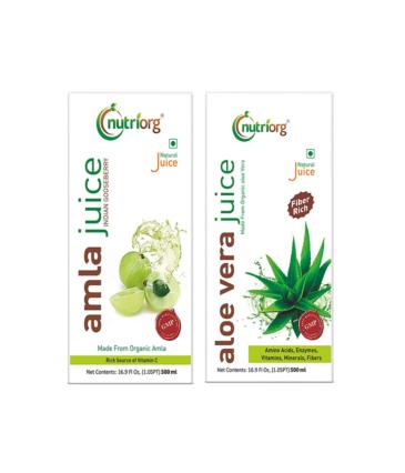 Nutriorg Amla & Aloe Vera Juice - 1000 Ml (Pack of 2 - 500 each) | Organically Grown| Immunity Booster | Detoxification