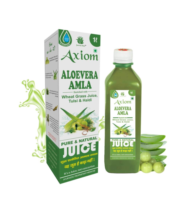 Jeevanras Axiom Aloevera Amla Juice 1000ml   Boosts Immunity   Purifies Blood   Relieves From Constipation   Improves Eyesight   100% Natural WHO GMP, GLP Certified Product