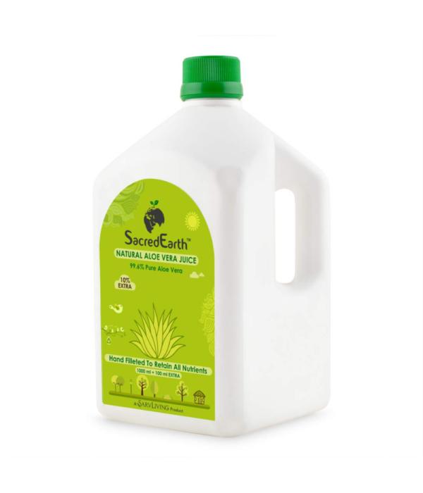 SacredEarth Natural Aloe Vera Juice With Fiber And No Added Sugar (1000ml + 100ml Extra)