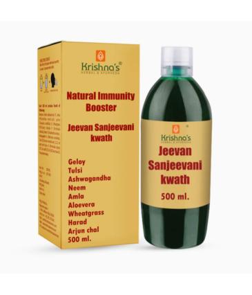 Krishna's Herbal & Ayurveda Jeevan Sanjeevani Kwath || Enriched with Aloe Vera, Amla, Giloy, Tulsi, Ashwagandha, and 4 more herbs || Natural Immunity Booster (500ML)