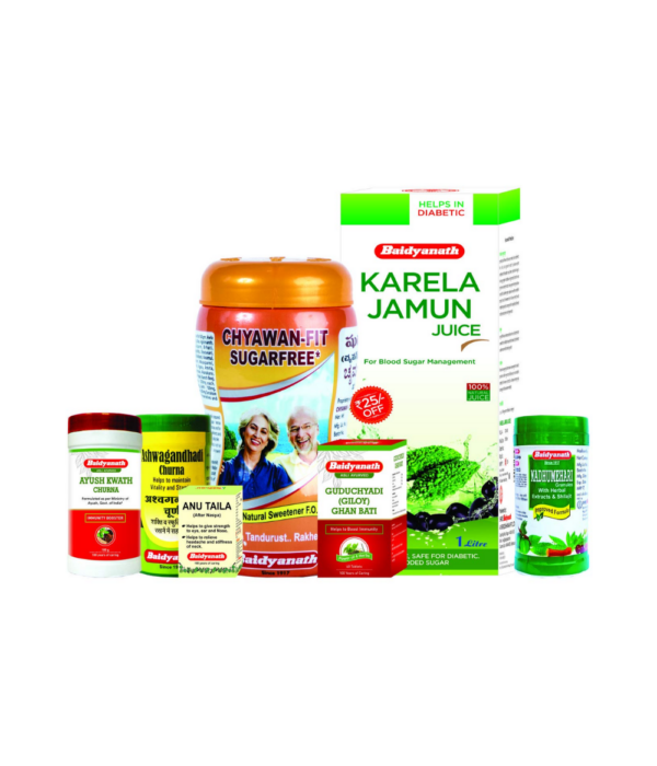 Baidyanath Diabetes Immunity Kit (Chyawan Fit Sugar Free, Karela Jamun Juice , Anu Taila 10ml , Ayush Kwath , Madhumehari Granules , Ashwagandhadi Churna Guduchayadi Ghan Bati )